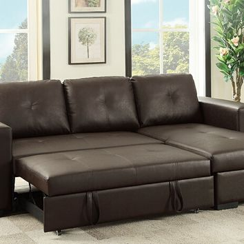 2 pc Daryl collection espresso faux leather upholstered sectional sofa set with pull out sleep area