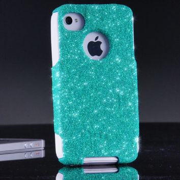 Otterbox iPhone 4 4S Custom Case - Wintermint Glitter iPhone 4S Case - iPhone 4 4S Cover Sparkly Bling Case