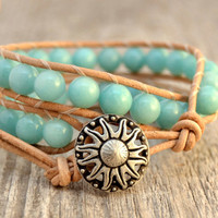Beaded wrap bracelet. Chunky amazonite bracelet. Leather wrap bracelet