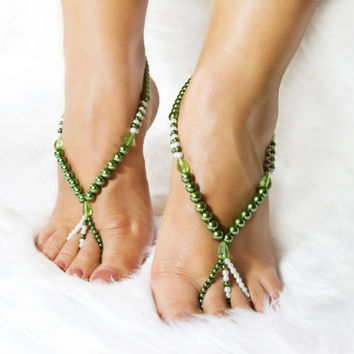 Green Beaded Barefoot Sandals Foot Jewelry Soleless Beach Shoes for Her Wedding Accessories Beachwear Gift Ideas Bridesmaid Barefoot Shoes