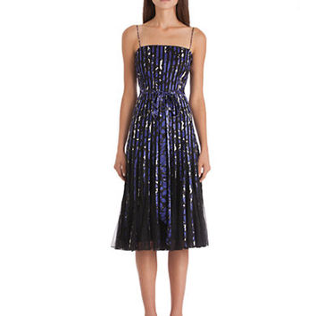 Js Collections Printed Satin and Mesh Pleated Dress