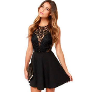 Women Round Neck Lace Decorated Short Length Sexy Skirt Dress Black - Sears