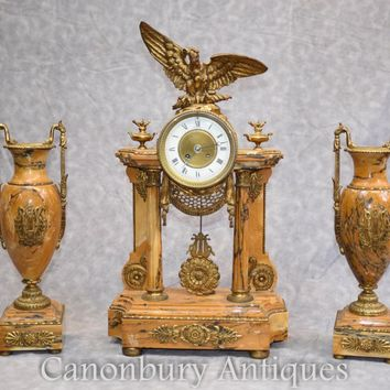 Canonbury - French Empire Marble Mantle Clock Garniture Set Gilt Eagle