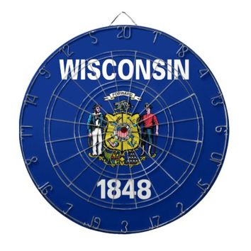 Dartboard with Flag of Wisconsin, USA