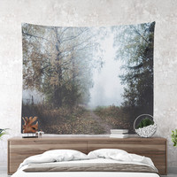 Wall Tapestry With A Foggy Trail Photography Print, Wall Decor, Large Wall Art, Nature Tapestry, Wanderlust Tapestry, Home Decor, Art, Gifts