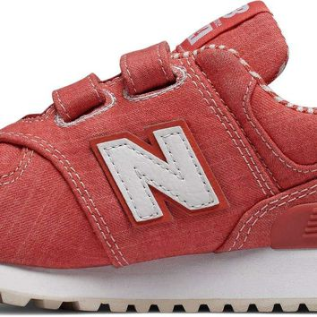 New Balance Kids' 574v1 Beach Chambray Hook and Loop Sneaker