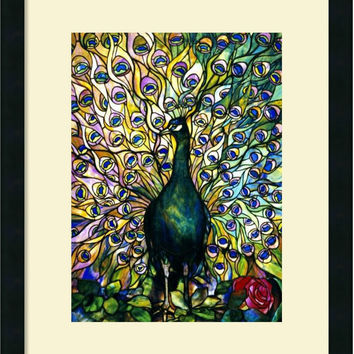 0-010209>Fine Peacock Framed Print by Tiffany Studios Satin Black