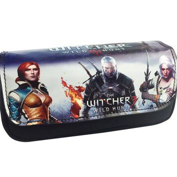 Fashion Leather Purse Witcher 3 Wild Hunt Wizard 3 Game Bag Gift Boy Girl Anime Double Zipper Pencil Bags Canvas Pen Wallets