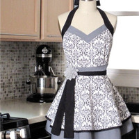 Kitchen Apron Black White Damask Double Skirt by twodesigndivas