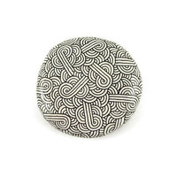 White decorative painted stone with black zentangle, black and white abstract painted pebble, modern and unique art object, ooak