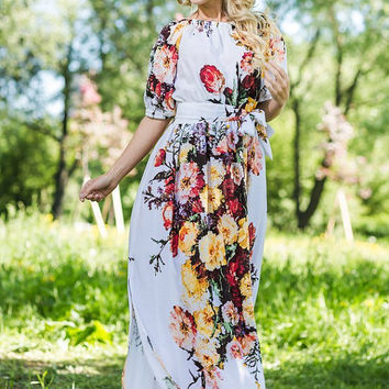 Summer Maxi Dress 100% Viscose  /  High Quality Designer summer dress. Floral print.  White dress, Plus size available, off shoulder