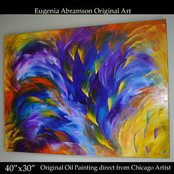 Original Abstract Modern Oil Painting on Canvas 40x30 Huge palette knife technique Contemporary Wall Decor Fine Art  by Eugenia Abramson