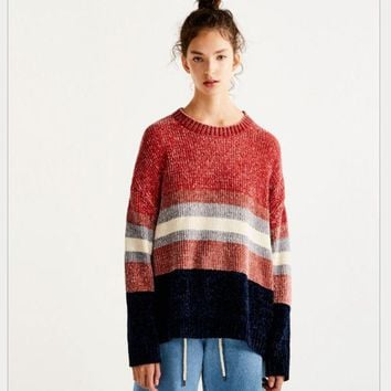 DCCKJ1A Stripe sweater autumn ladies new fashion hit color chenille round neck loose knit sweater