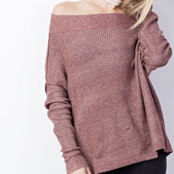 Off Shoulder Knit Sweater