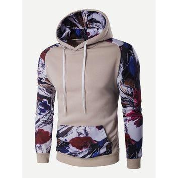 Abstract Floral Hooded Sweatshirt