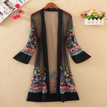 Trendy New Women Floral Embroidered Long Jacket Summer Net Cardigan Casual Long Sleeved Thin Coats Ladies Vintage Beach White Outerwear AT_94_13