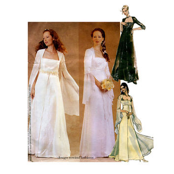 WEDDING DRESS PATTERN Bridal Evening Gown Bridesmaid Dress Pattern McCalls 3010 Size 10 12 14 UNCuT Misses Petite Womens Sewing Patterns