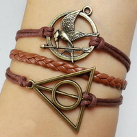 hunger games bracelet,harry potter bracelet,The deathly hallows,Mockingjay the Hunger games Inspired Charm Bracelet