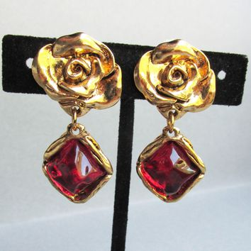 Chunky 1980's Vintage ROSE & Red Rustic Rock Cabochon Dangle Gold Tone Earrings