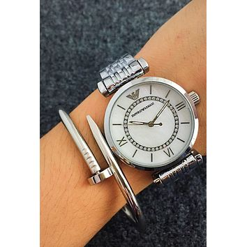 Armani Women Men's Fashion Watch Watch Silver I-Fushida-8899