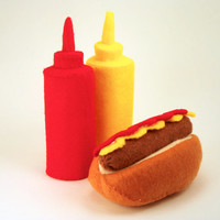 Hot Dog on Bun with Ketchup and Mustard Bottles Felt Food
