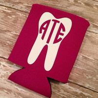 Monogrammed Tooth Koozie - Dentist, Dental Hygienist, Dental Assistant Gift