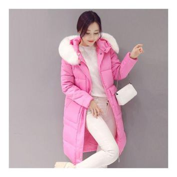 Winter Woman Fur Collar Slim Woman Down Coat Thick   rose