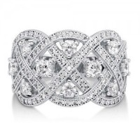 Cubic Zirconia CZ 925 Sterling Silver Woven Fashion Right Hand Ring #r659