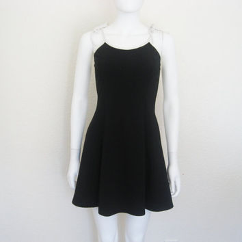 90s Black Skater Dress with White Straps / Health goth Grunge / small women's clothing