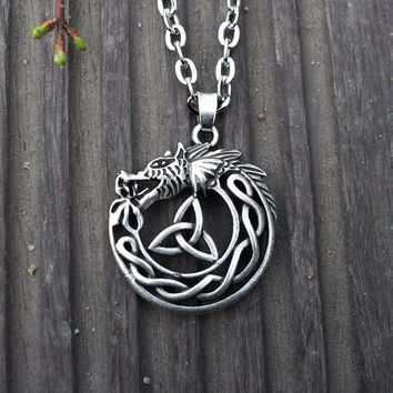 Celtic Dragon Necklace Trinity Knot Mens Pendant Necklaces Viking Jewelry 1pcs