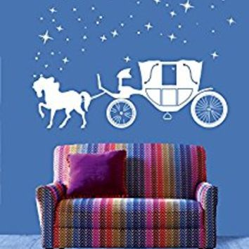 Wall Decal Vinyl Sticker Decals Art Decor Design Coach Horses Stars Night Fairy tale Cinderella Story Kids Children Play room Bedroom (r467)