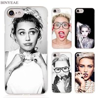 BINYEAE Miley Cyrus Clear Cell Phone Case Cover for Apple iPhone 4 4s 5 5s SE 5c 6 6s 7 Plus