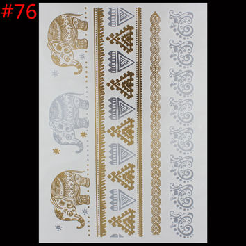 Gold foil tatoo temporary golden tatto decal women men body art elephant jewelry bracelet feather temp metallic tattoo stickers