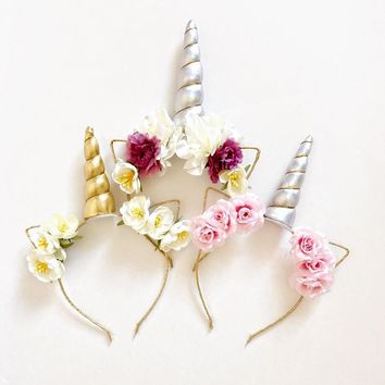 Glitter Metallic Gold/Silver Unicorn Horn with  Flowers Hair Hoop Party For kids headband accessories