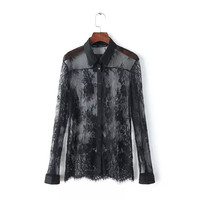 Black Lace Cutout See Through Long Sleeve Button Shirts
