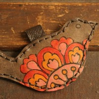 Wren Bird Ornament - Leather in Pink, Red, Orange and Antique Black... | moxieandoliver - Seasonal on ArtFire