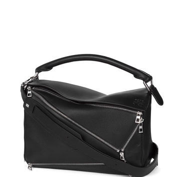 Loewe Puzzle Zips Leather Satchel Bag, Black