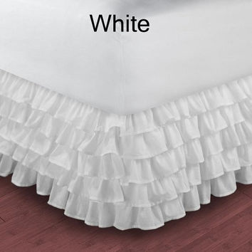 1000TC Egyptian Cotton White Multi Layered Ruffle Bed Skirt  - Available in All Size