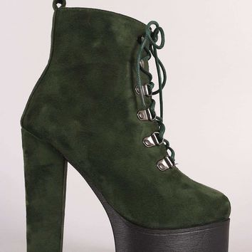 Suede Lace Up Chunky Heeled Platform Lug Sole Ankle Boots