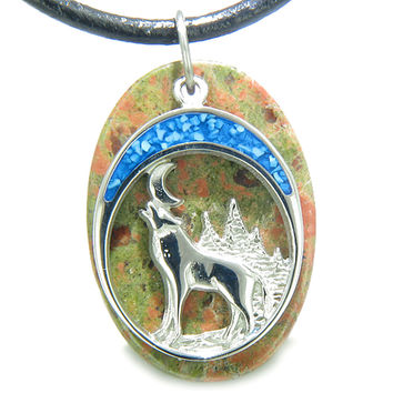 Howling Wolf Moon Amulet Spiritual Powers Unakite Leather Pendant Necklace