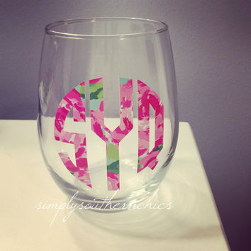 Lilly Pulitzer Monogrammed Stemless Wine Glass - Lilly Stemless Wine Glass - Lilly Pulitzer Greek Wine Glass - Lilly Monogram Stemless Wine