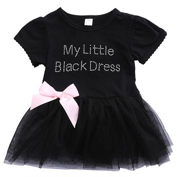 New Toddler Infant Newborn Baby Girls Dress Bow Ball Gown Mini Soft Dress Letter Lovely Casual Clothes