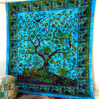 QUEEN Turquoise Tree of Life Tapestry, hippie boho tapestries wall hanging, indian bedding throw bedspread, ethnic home decor art