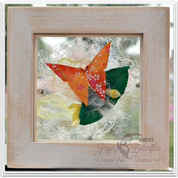 Floating Garden Shadowbox, Summer Evening. Unique decorative origami and silk paper art, beautiful handmade gift and unique home decor