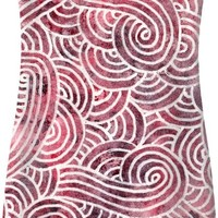 Burgundy red and white swirls doodles Simple Dress