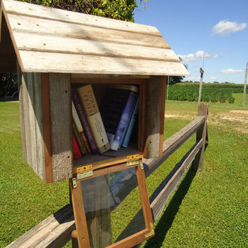 Wood library - Outdoor library - Book share library - Neighborhood outdoor library - Salvage redwood - Barn board - Weathered wood - Library