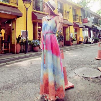 CREYHY3 2016 New Style Gradient Colorful Summer Dress Sleeveless A Line Floor Length Long Chiffon Dress Beach Style Dresses