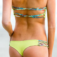 The Girl and The Water - San Lorenzo - Knotted Bandeau Top Lime/Fantasy Island - $66