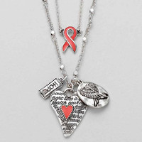 Breast Cancer Awareness Inspiration Double Silver Necklace