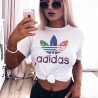 """ADIDAS""Women Fashion Print Logo Monogram Casual T-Shirt Top Tee"